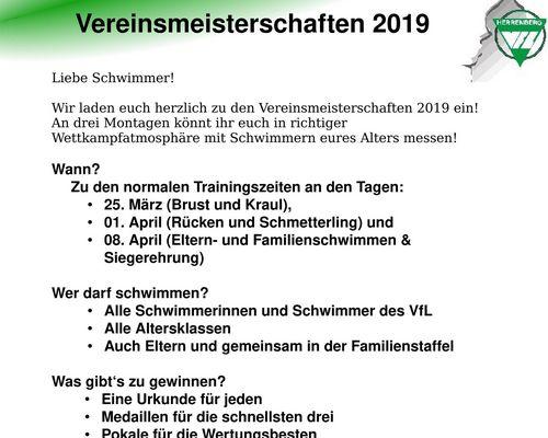 Vereinsmeisterschaften 2019